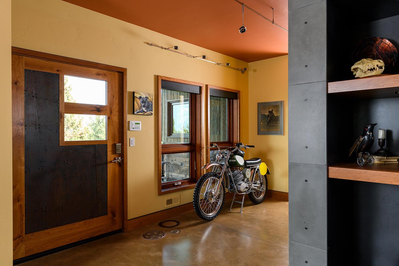 motorcycle entry concrete floor inlay