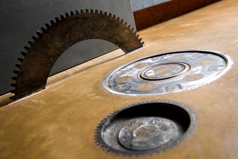 gears in floor concrete