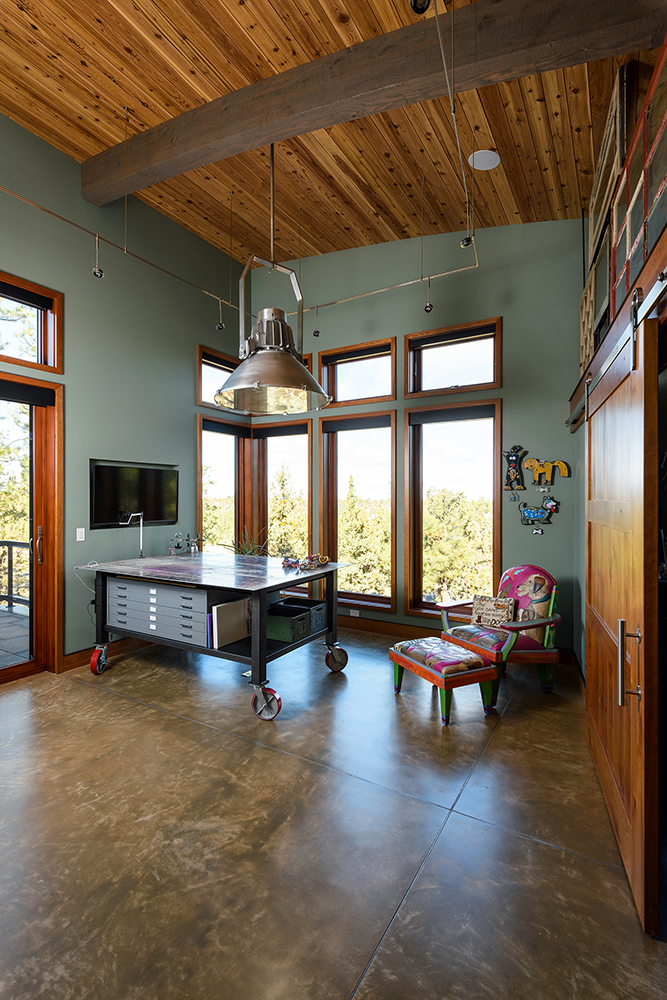 art studio lighting wood ceiling