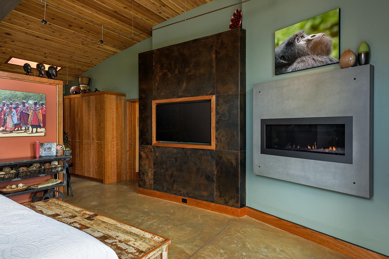 master bedroom tv fireplace