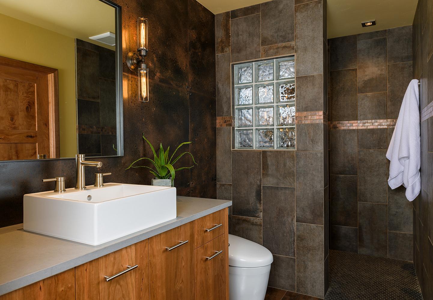 guest bath tile steel caeserstone