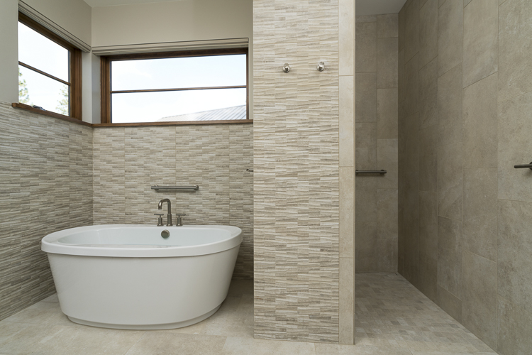 free standing tub tile walk in shower